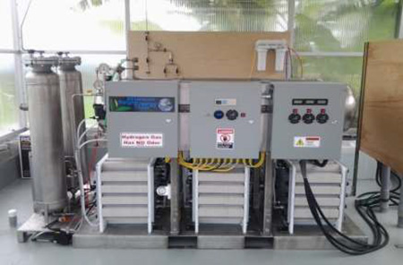 Hydrogen electolyzer in place in Hawaii with new injection molded cells.