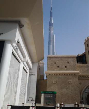 MRE station in front of the tallest building in the world